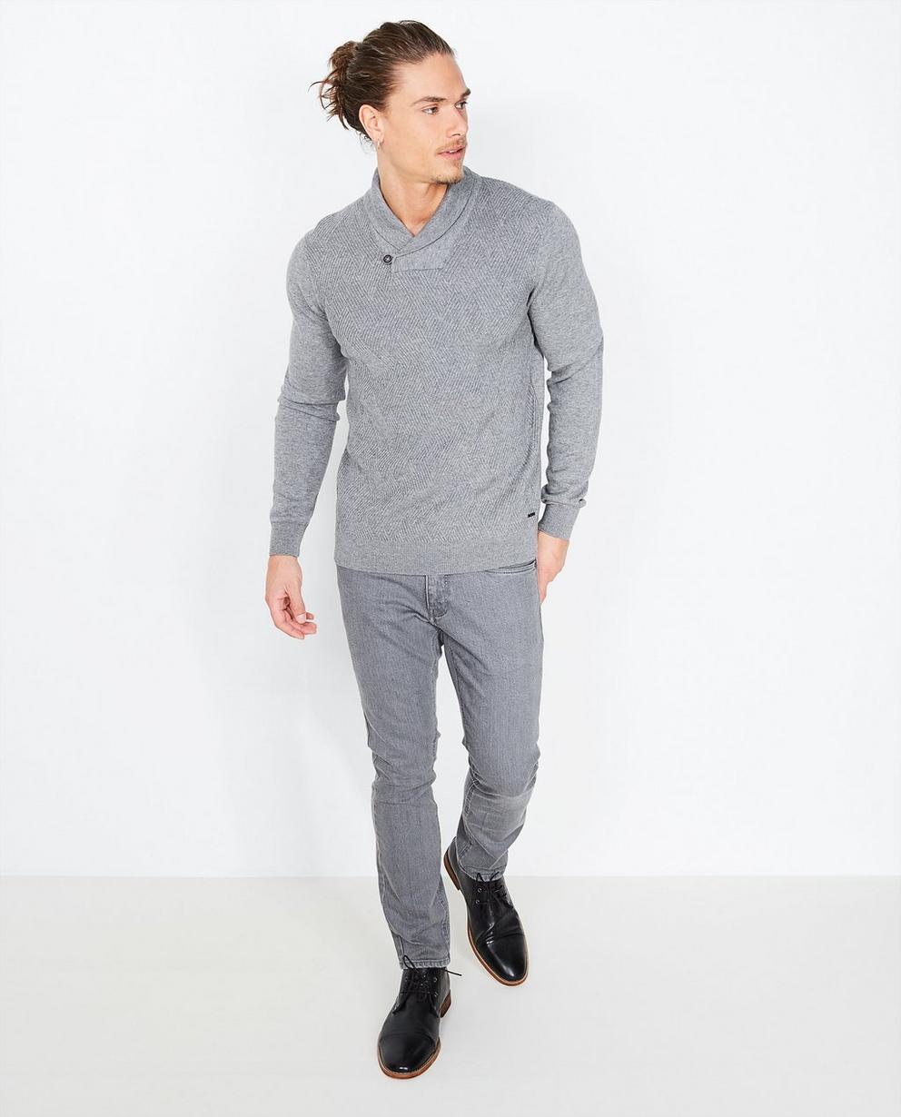 Pull gris slim fit - laine mélangée - Iveo